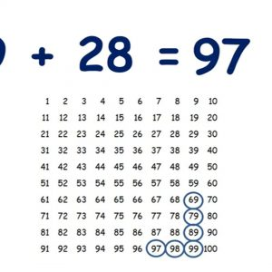 Add or subtract the nearest multiple of 10 and adjust with T8 on a hundred square