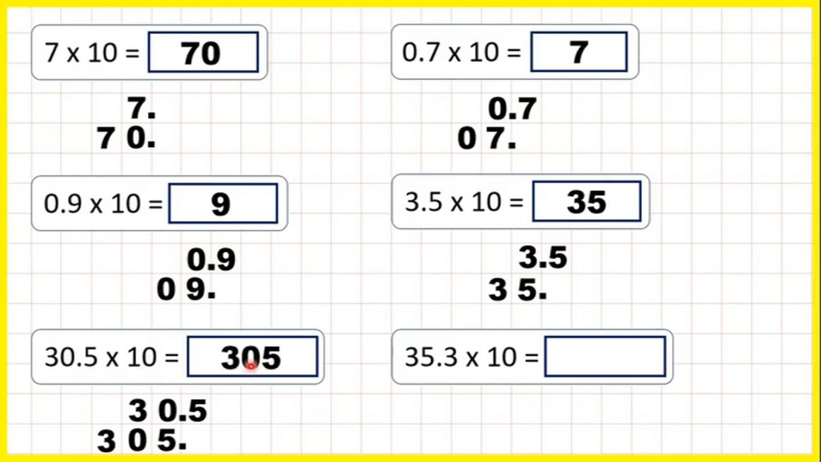 Decimals – Multiply numbers with tenths by 10 – Your Turn