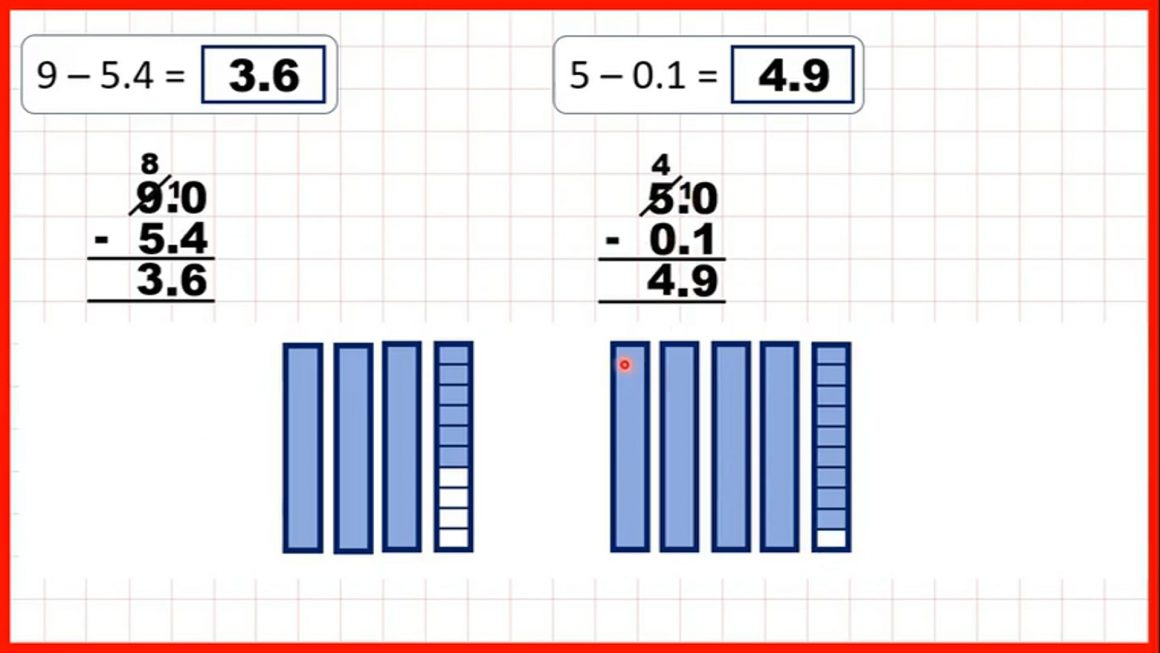 Decimals – Subtract numbers with tenths from whole numbers