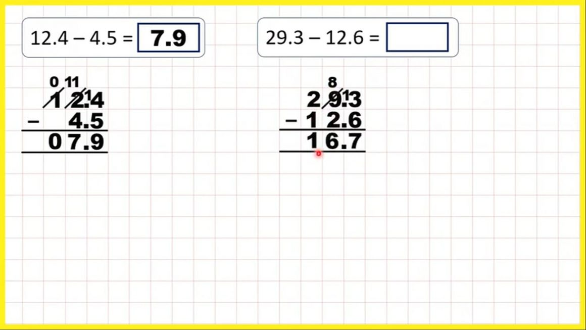 Decimals – Subtract numbers with tenths – Your Turn