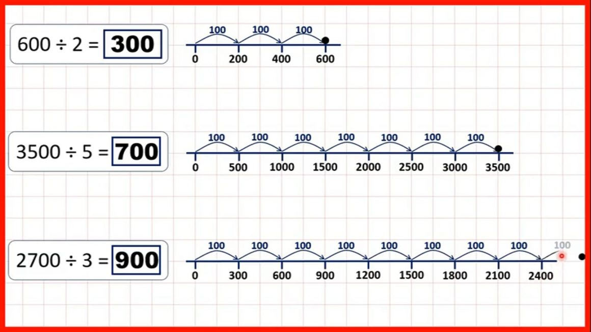 Divide a multiple of 100 by a single-digit number mentally