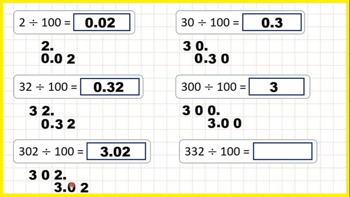 Divide one-, two- or three-digit numbers by 100 – Your Turn
