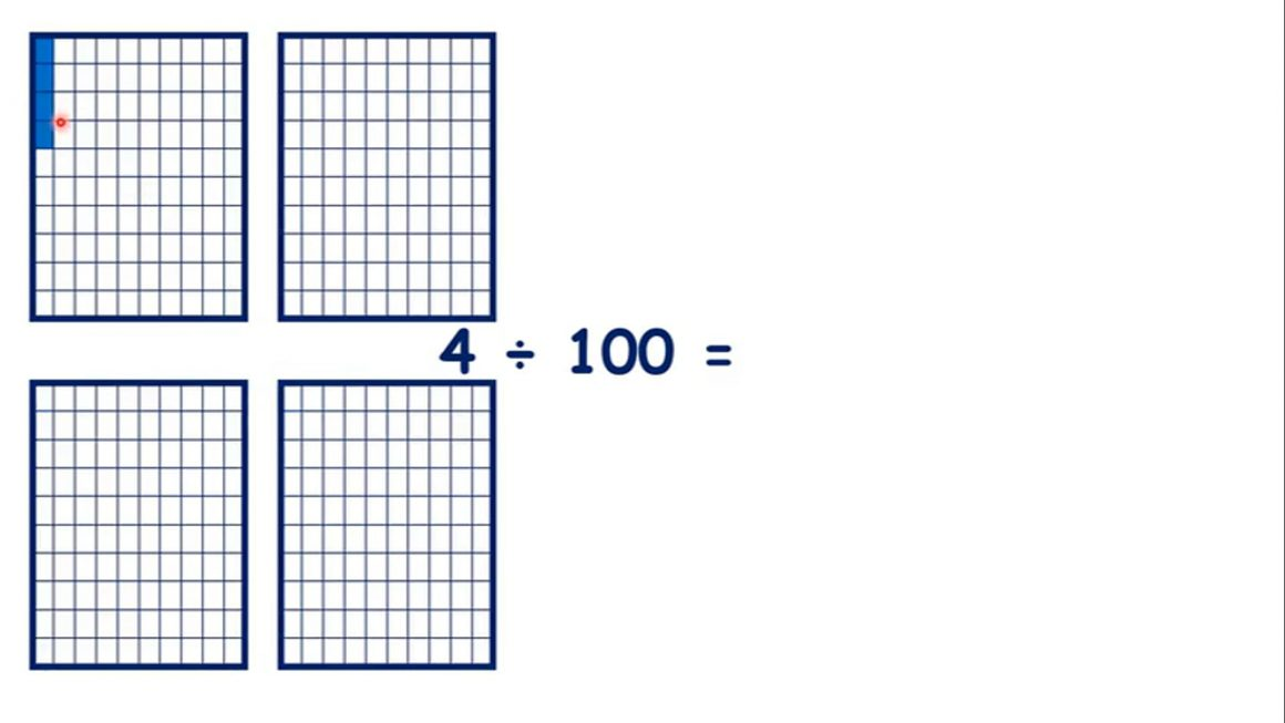 Divide single- or two-digit numbers by 100