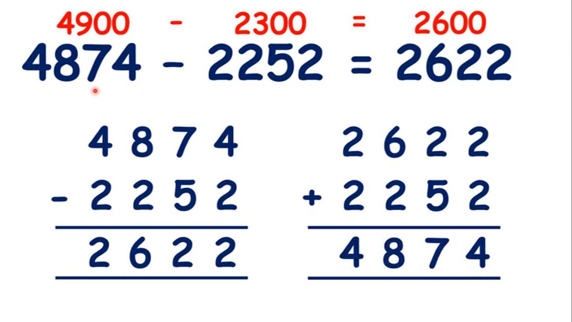 Estimate by rounding and check using the inverse operation with four-digit numbers