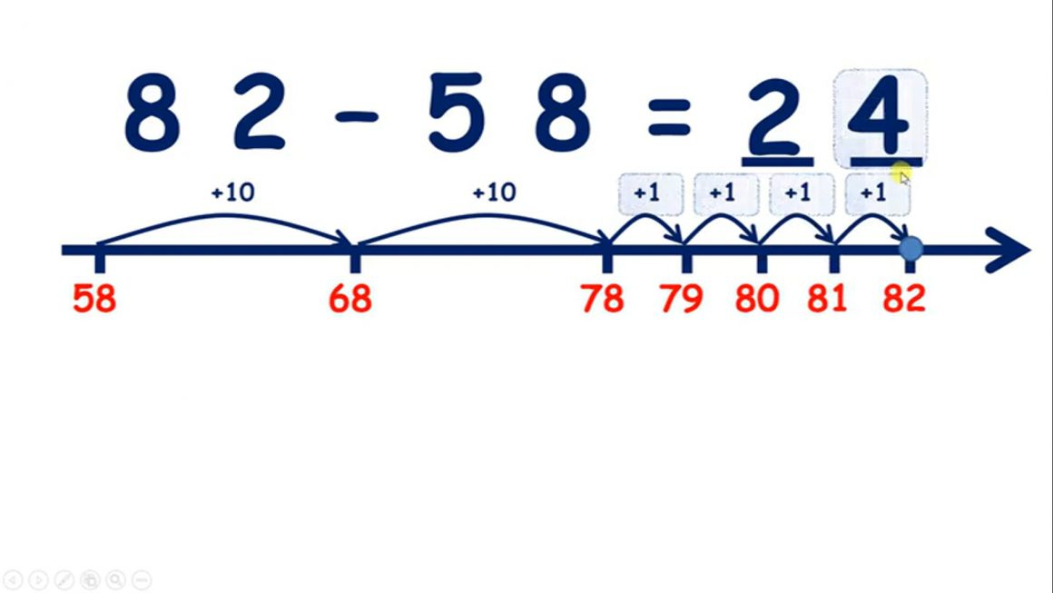 Find the difference on a number line, tens then units