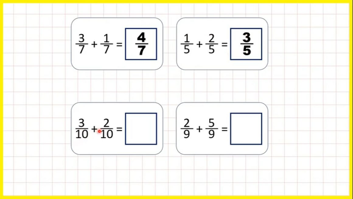 Fractions – Add fractions with the same denominator within 1 – Your Turn