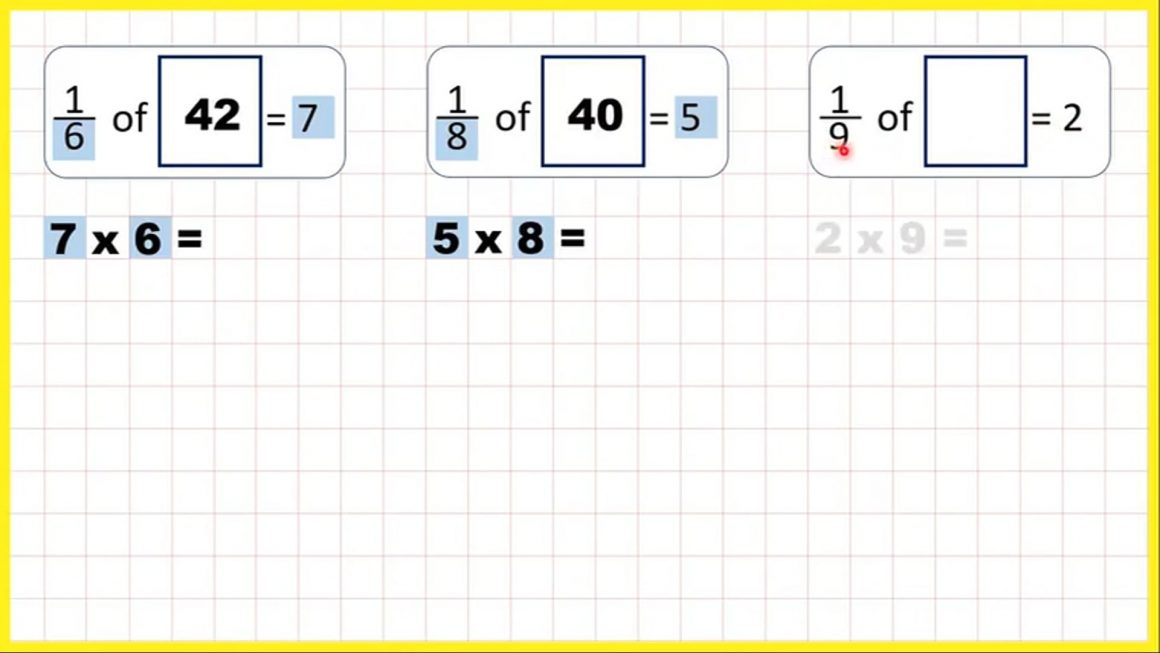 Fractions – Find a whole quantity given the quantity represented by a unit fraction – Your Turn