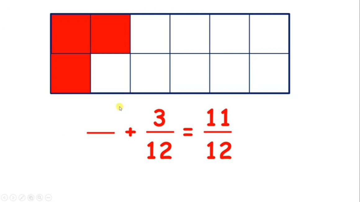 Fractions – Solve missing number problems for addition and subtraction with fractions