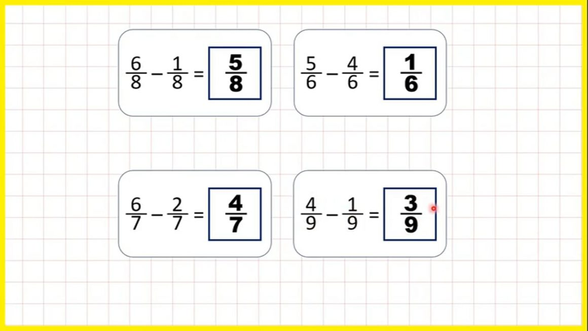 Fractions – Subtract fractions with the same denominator within 1 – Your Turn