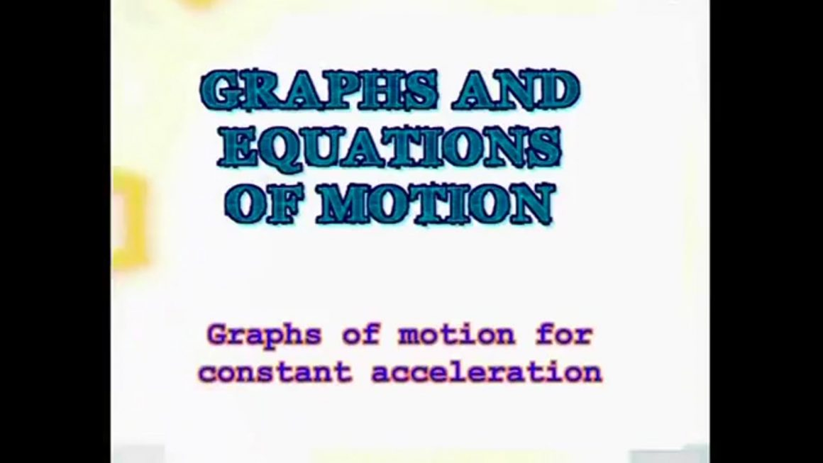 110 Constant Acceleration and Graphs of Motion