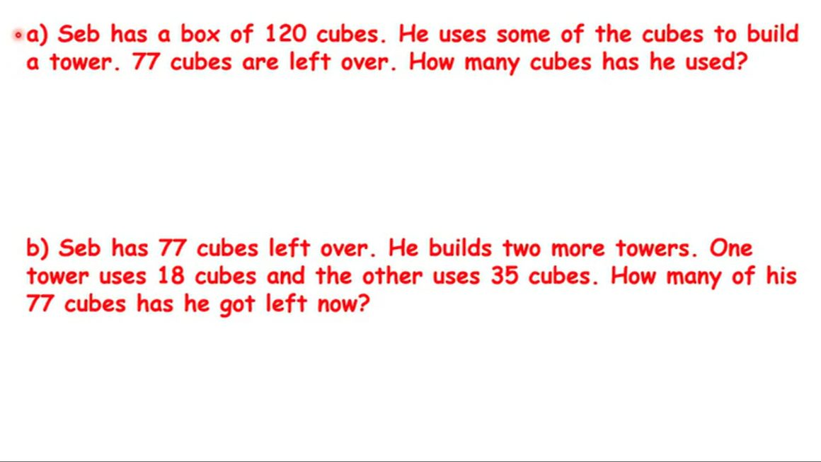 Seb has a box of cubes – two questions