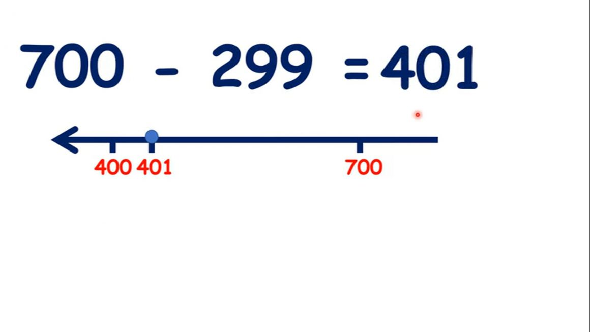 Subtract a near multiple of 100 from a three-digit number by adjusting