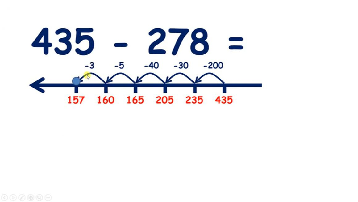 Subtract a three-digit number on a number line, hundreds then tens then units