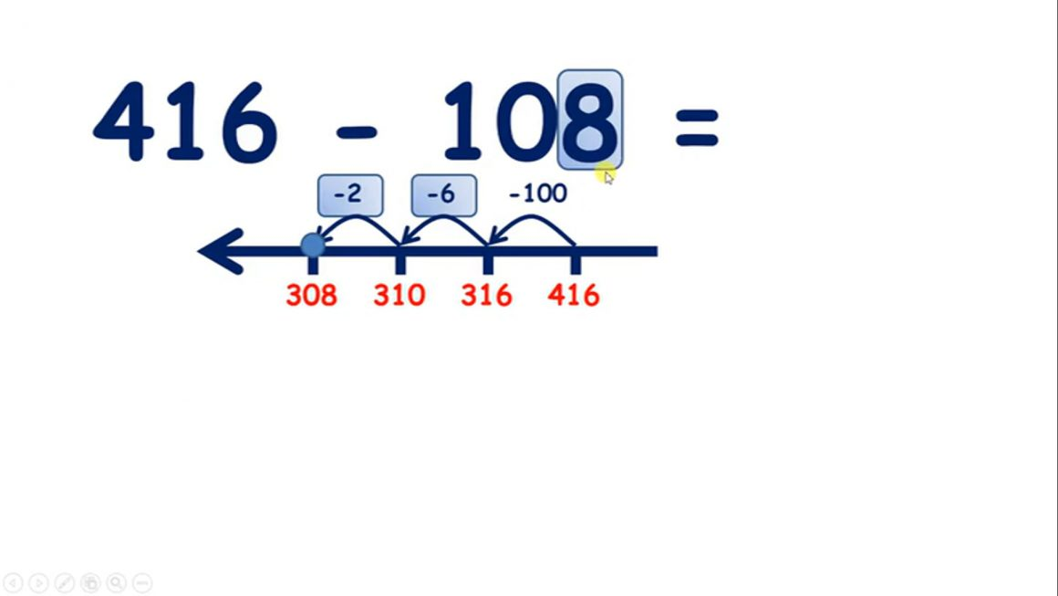 Subtract a three-digit number on a number line, hundreds then units