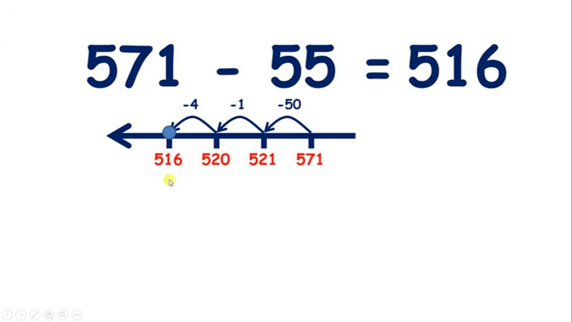 Subtract a two-digit number from a three-digit number, tens then units (bridging tens)