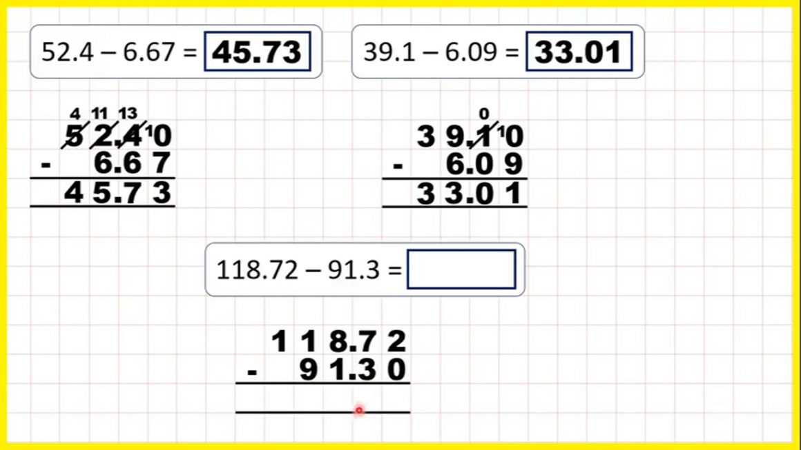 Subtract numbers with one or two decimal places – Your Turn.mp4