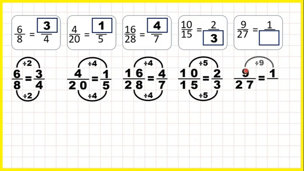 Use division to find equivalent fractions – Your Turn